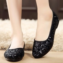 New Womens Flat Shoes Fashion Dance Sequin Shallow Mouth Round