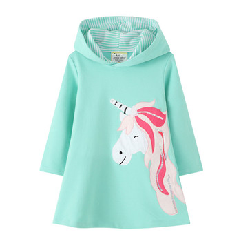 Jumping Meters New Arrival Animals Girl Dress Sweater Hooded Dresses for Spring  Autumn Cute Girls Cotton Unicorn Baby Clothing