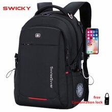 SWICKY мужской многофункциональный USB зарядка Модный Бизнес Повседневный дорожный Противоугонный водонепроницаемый 15,6 дюймовый ноутбук мужской рюкзак