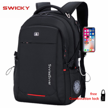 SWICKY male Multifunction USB charging fashion business casual travel anti theft waterproof 15.6 inch Laptop men backpack