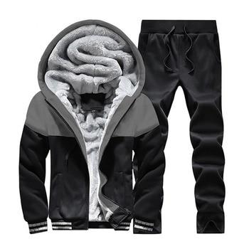 2019 Men Warm Sets Fashion Sporting Thick Suit Patchwork Zipper Hooded Sweatshirt +Sweatpants Mens 2 Pieces Sets Slim Tracksuit 3