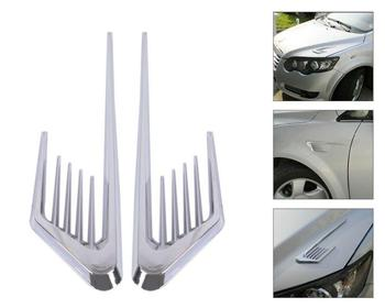 2pcs Universal Car Chrome Silver Car Fenders Body Side False Vent Air Flow Intake Cover Sticker Vent Fender Cover Sticker image