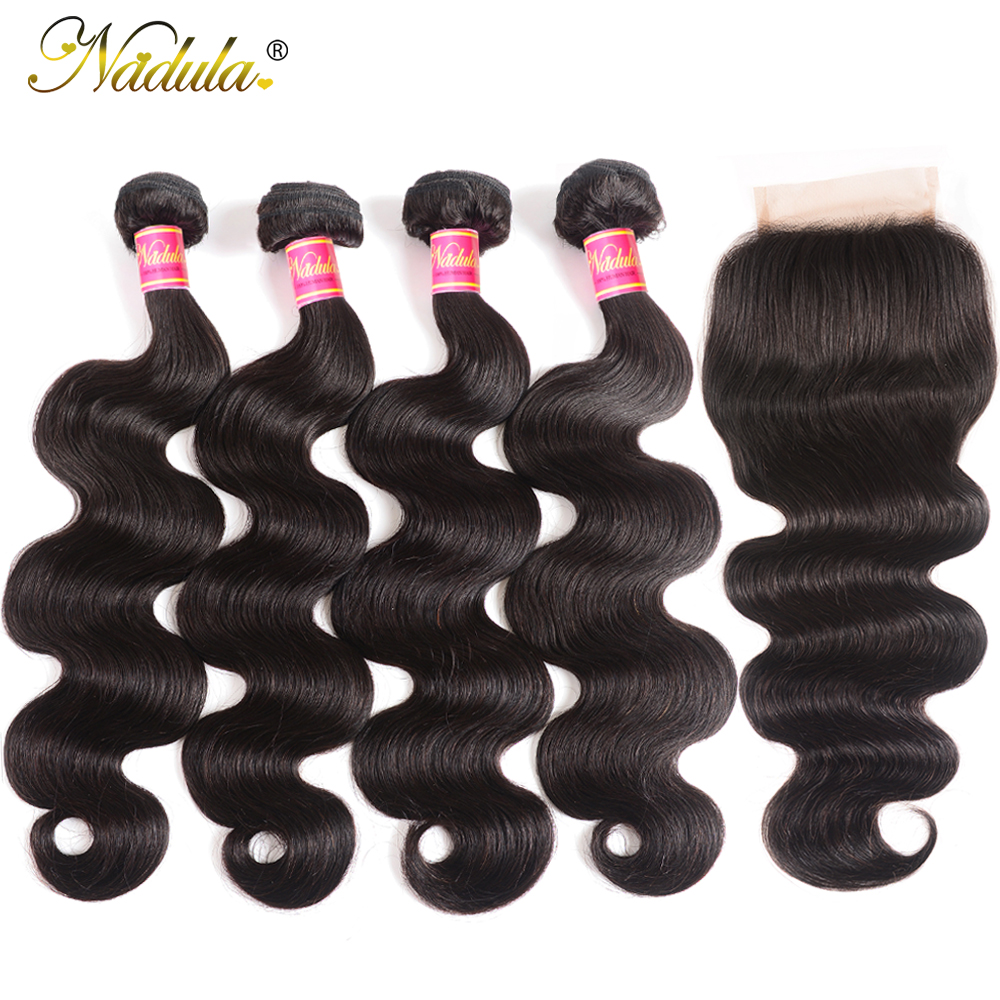 Nadula Hair 3/4 Bundles With Closure Brazilian Body Wave With Closure 4*4 Swiss Lace Closure 100% Remy Human Hair Natural Color