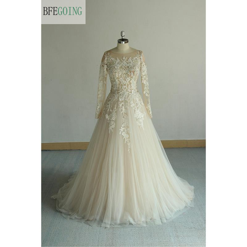 Champagne Tulle Lace Appliques  Long Sleeves Floor-Length A-line Wedding Dress Chapel Train Custom Made