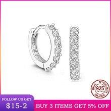 LByzHan 100% réel 925 en argent Sterling cristal cercle boucle d'oreille pour les femmes faisant des bijoux cadeau de mariage fête fiançailles E024