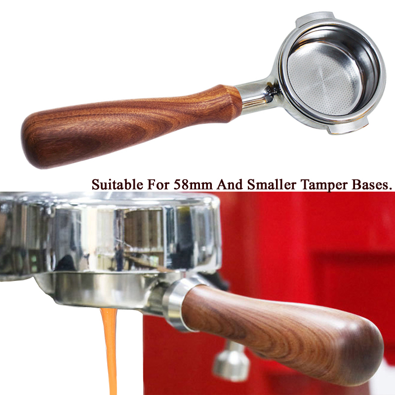 58MM Stainless Steel Coffee Machine Bottomless Filter Holder Portafilter Branch Wooden Handle Professional Accessory Wholesale