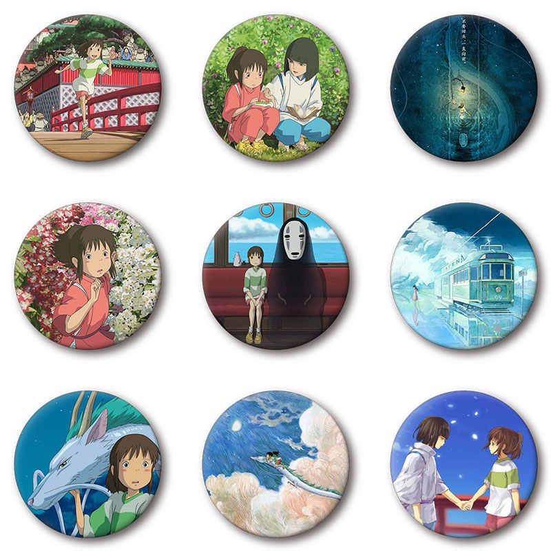 Nengdou T14 Japón anime No Face Spirited Away camisa badge Hayao Miyazaki broche pin mochila icono decoración en ropa y sombrero