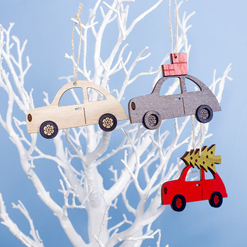 3 pcs Wooden Painted Colorful Car Tree Christmas Pendant Ornaments Decor For Home Kids Toys Gift Xmas New Year Party Decor image