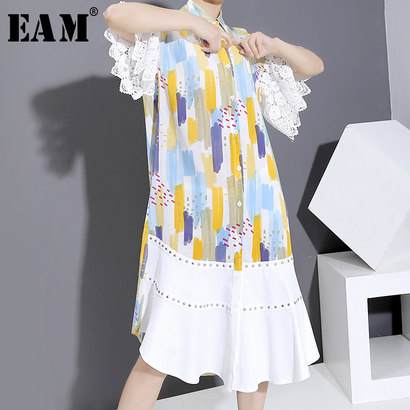[EAM] Women Lace Rivet Pattern Printed Long Shirt Dress New Lapel Half Sleeve Loose Fit Fashion Tide Spring Summer 2020 1U524