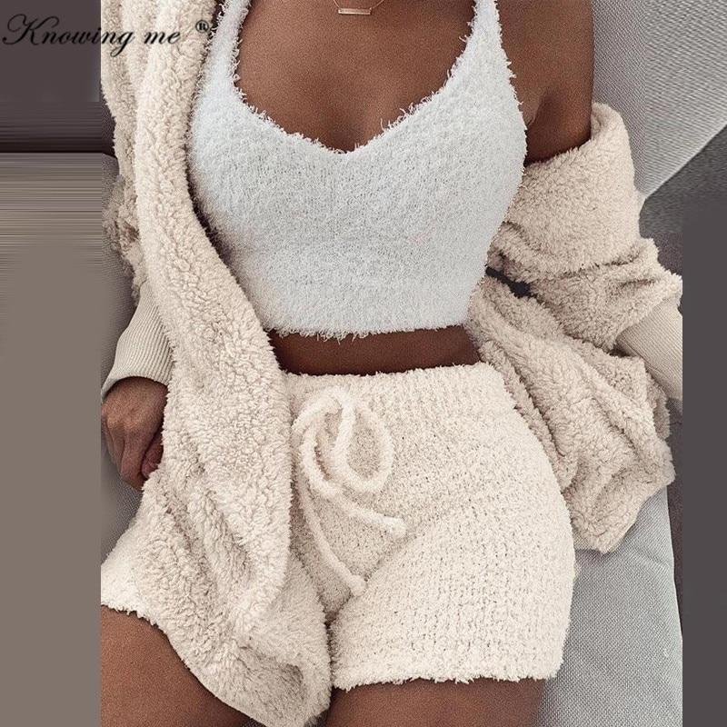 >Women Hooded Tracksuit <font><b>set</b></font> Autumn Winter Long Sleeve Cardigan Coat Outwear + Shorts Pants <font><b>Outfits</b></font> Suits Thick Knitted Fleece <font><b>Set</b></font>