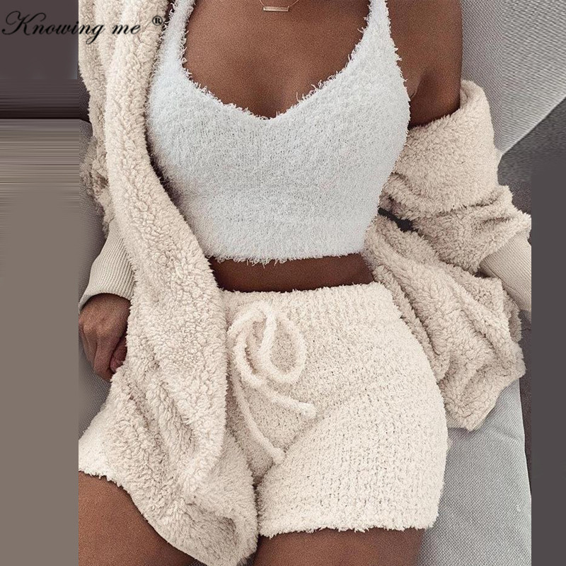 Women Hooded Tracksuit Set Autumn Winter Long Sleeve Cardigan Coat Outwear + Shorts Pants Outfits Suits Thick Knitted Fleece Set