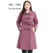 Plus Size 10XL 8XL 6XL 4XL Women Long Sleeves Winter Autumn Windbreaker Office Lady Elegant Oversize