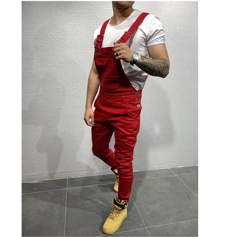 Fashion Men's Ripped Jeans Jumpsuits Hi Street Distressed Denim Bib Overalls For Man Suspender Pants Size S-4XL