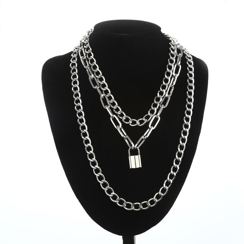 Layered punk chain necklace lock pendant necklace women men choker metal padlock chains goth jewelry grunge aesthetic accessory 1