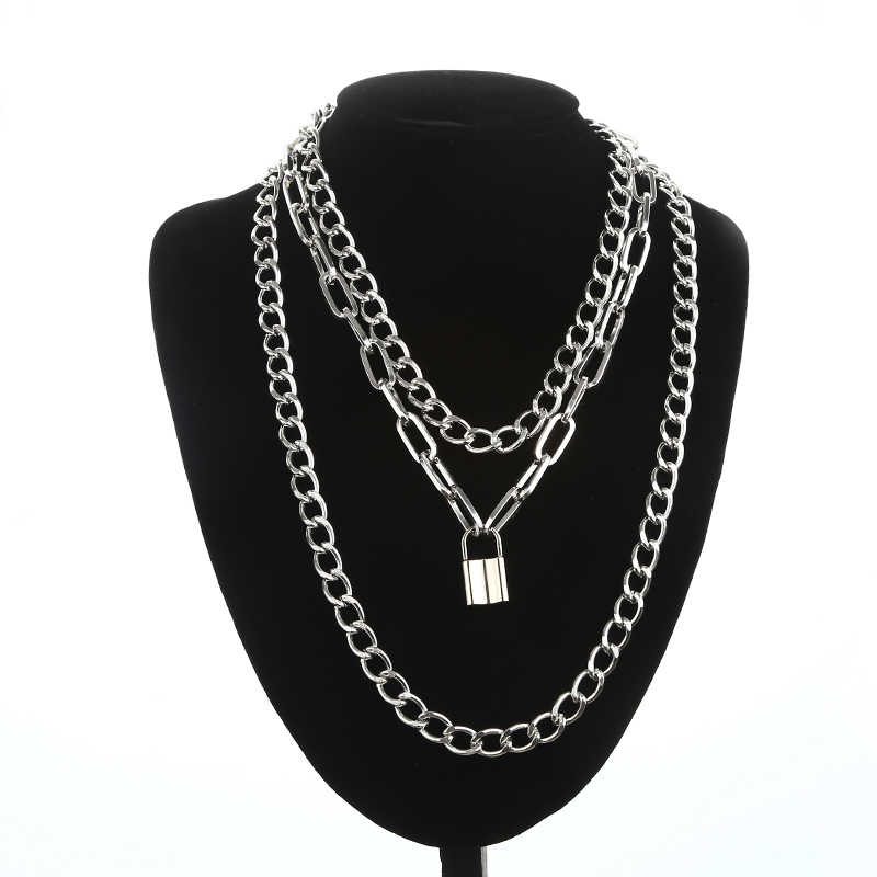 Layered punk chain necklace lock pendant necklace women men choker metal padlock chains goth jewelry costume accessory