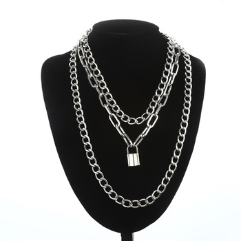 Layered Chain Necklace Neck Chains Lock Pendant  Jewelry For Women Punk Choker Padlock Goth Jewelry Grunge Aesthetic Accessories