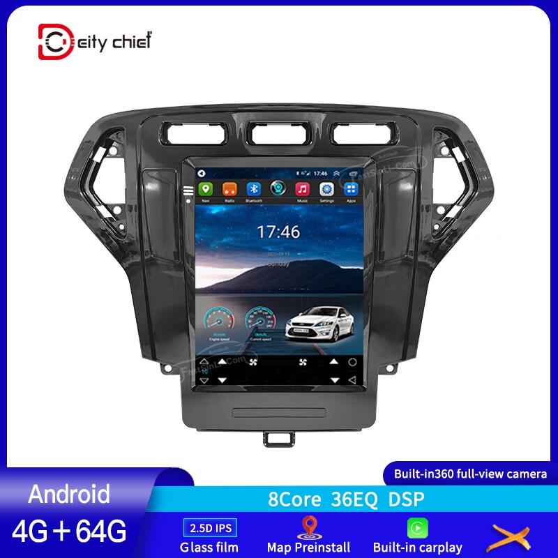 Автомобильный мультимедийный видеоплеер на Android с экраном в стиле Tesla и GPS-навигацией для Ford Mondeo 4 2006 2007 2008 2009 2010