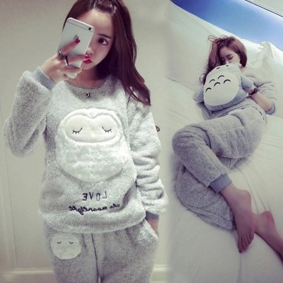 Long Sleeve Full Trousers Two Piece Pajamas Animal Cartoon Owl Women Thick Flannel Warm Female Winter Pajama Set