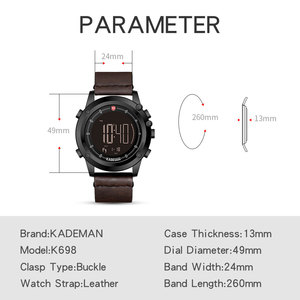Image 2 - KADEMAN Military Sports Mens Watch Digital Display Waterproof Step Counter Leather Clock Top Luxury Brand LED Male Wristwatches