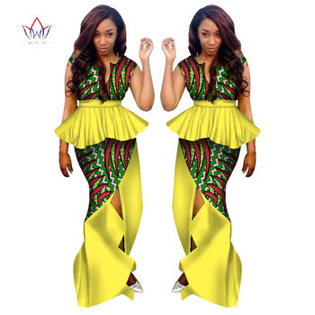 BRW Traditional African Clothing for Women 2 Piece Skirt Suit Set Clothing African Clothes African Print Maxi Skirts WY1132