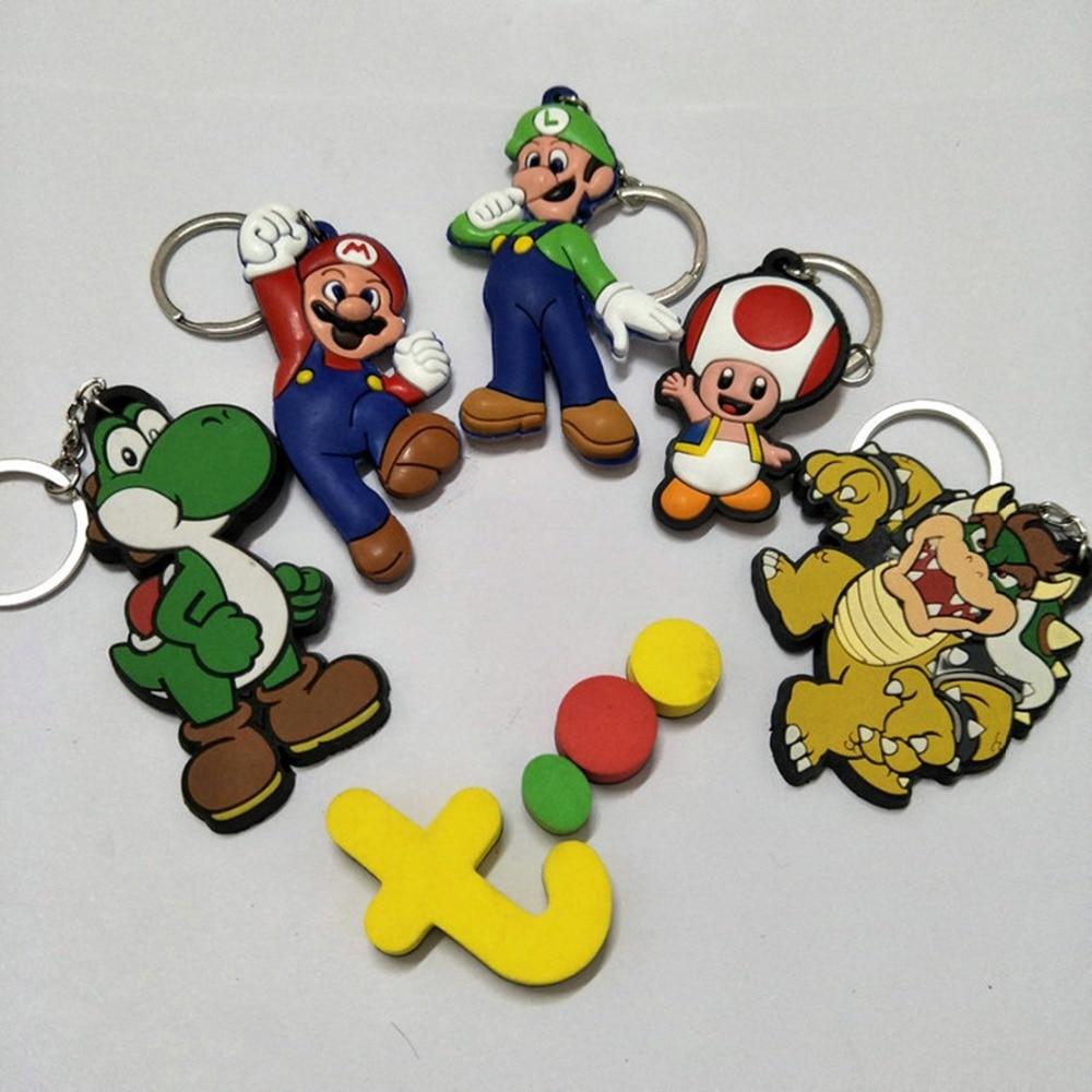 LLavero de PVC con forma de seta Yoshi de Super Mario Bros, bonito y divertido bolso de silicona para llaves, llavero con colgante para coche, joyería, juguetes de chico