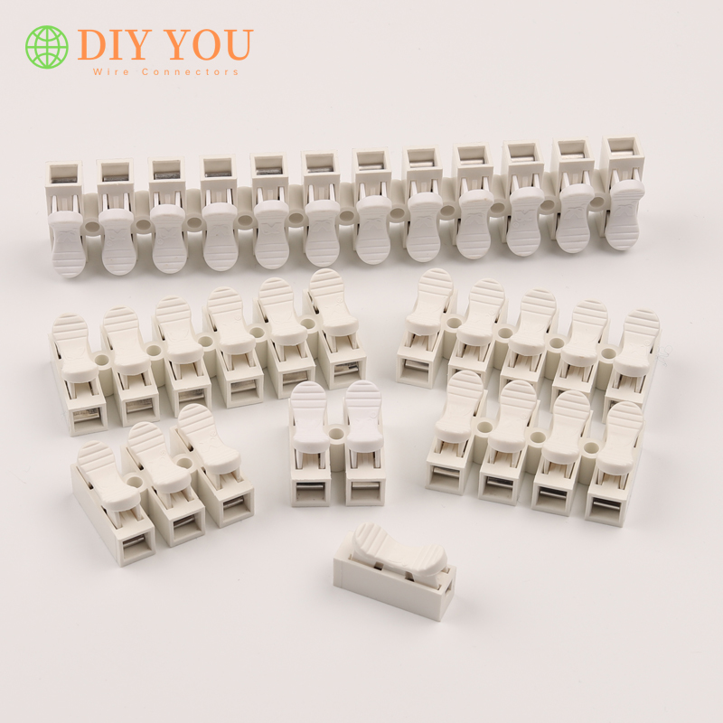 30/50/100 PCS CH-1/2/<font><b>3</b></font>/4/5/<font><b>6</b></font>/12 Pin Press Type Quick Lock Cable Spring Connectors LED Lighting Wire Connector Terminals Block image