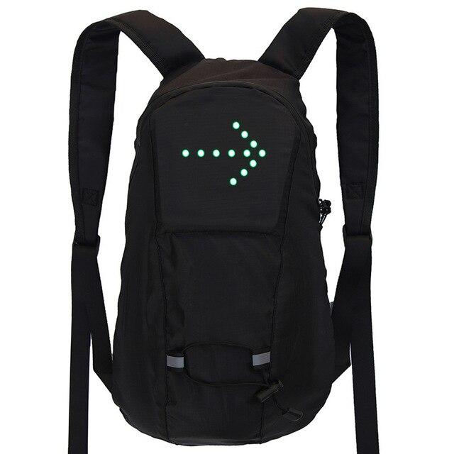 Torba na rower wodoodporny plecak sportowy 15L światło kierunkowskazu LED pilot zdalnego sterowania torba bezpieczeństwa odkryty piesze wycieczki plecak do wspinaczki