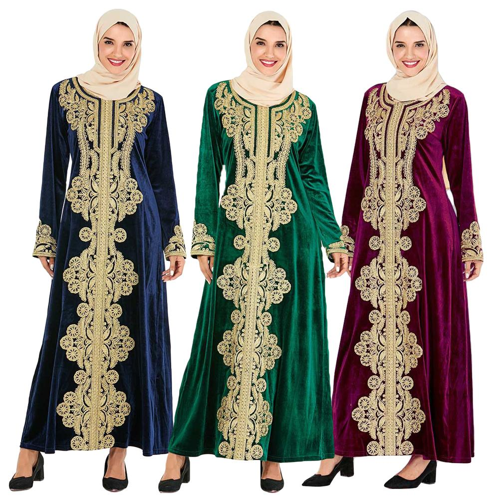 Dubai Abaya Kaftan Maxi Long Dress Muslim Women Robe Islamic Jilbab Gown Pockets