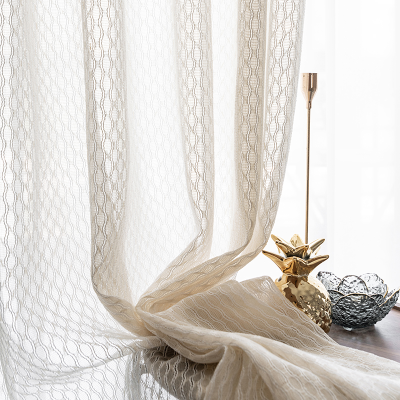 CDIY Stripe Tulle Window Curtains For Living Room Bedroom European Style Sheer Voile Curtains Window Treatments Drapes Blinds