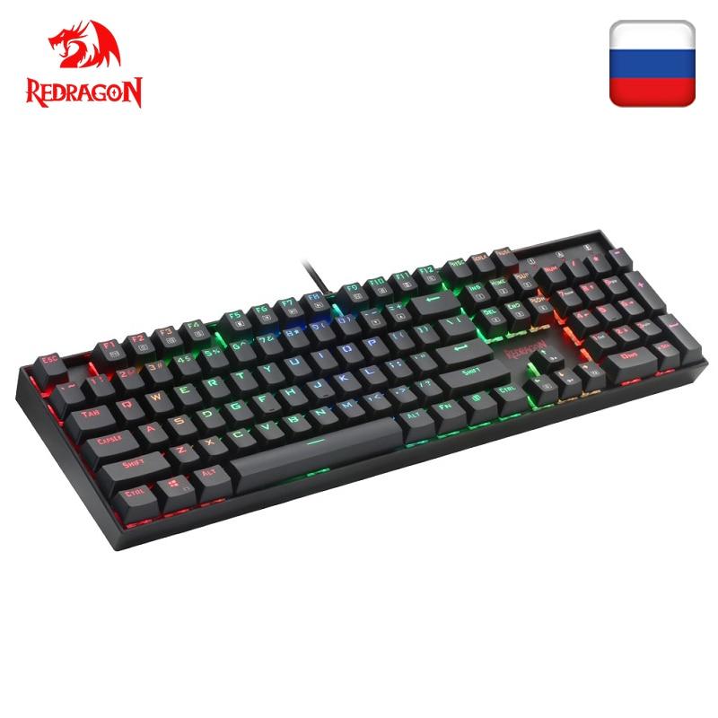 Redragon k551 rgb usb teclado de jogos mecânico interruptor azul diy 104 chave backlit pc gamer russo keycaps ou adesivo espanhol