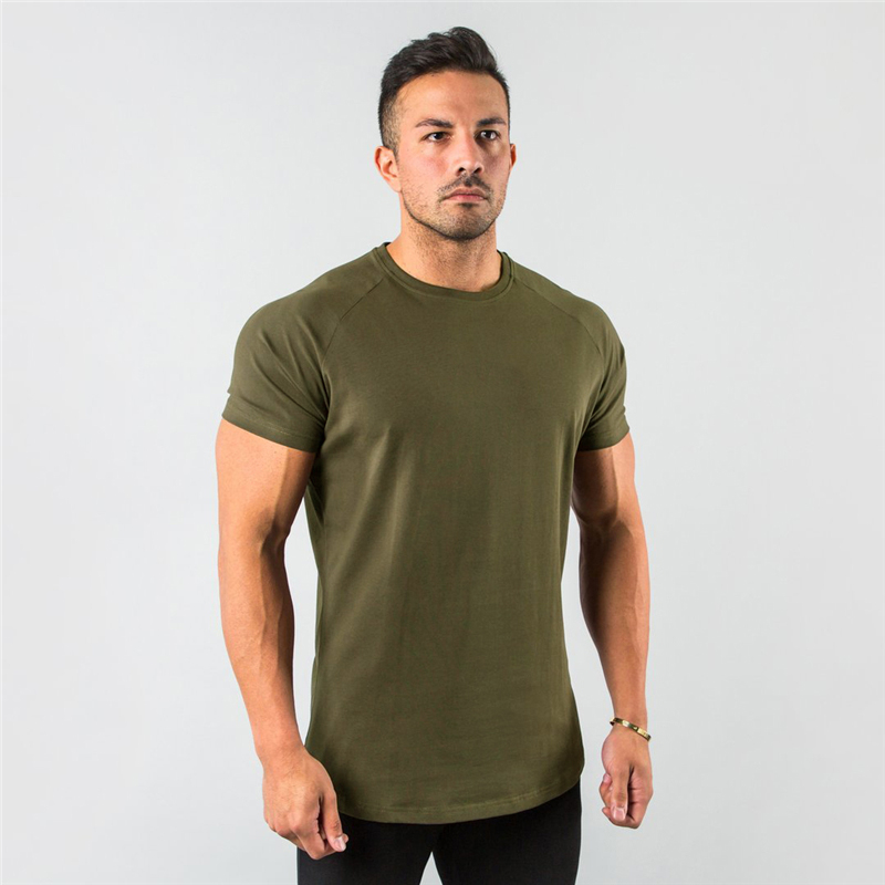 New Stylish Plain Tops Fitness Mens T Shirt Short Sleeve Muscle Joggers Bodybuilding <font><b>Tshirt</b></font> Male Gym Clothes <font><b>Slim</b></font> Fit Tee Shirt image