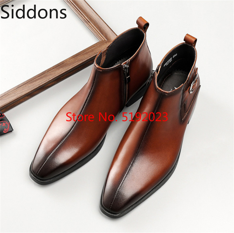 Men Ankle Boots Fashion Black / Tan Chelsea Boots Genuine Leather Dress Boots Winter Vintage Classic Male Casual Boot D150