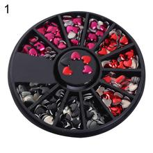 nail art stickers for women Love Heart Shaped Metal Rivet DIY Nail Art Tips Mixed Color Stickers 1 Wheel Box