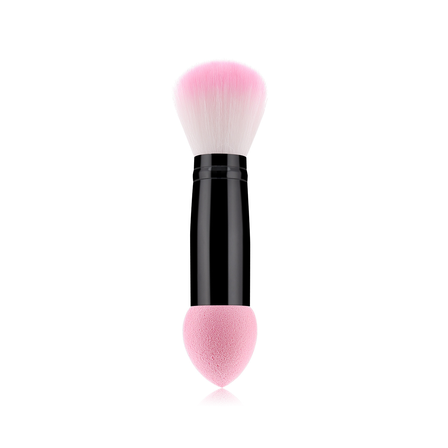 1pc Professional Blusher Brush 2 Heads Nylon Make Up Brushes Two Head Metal Cosmetic Tools With Sponge Pink Color Drop Shipping
