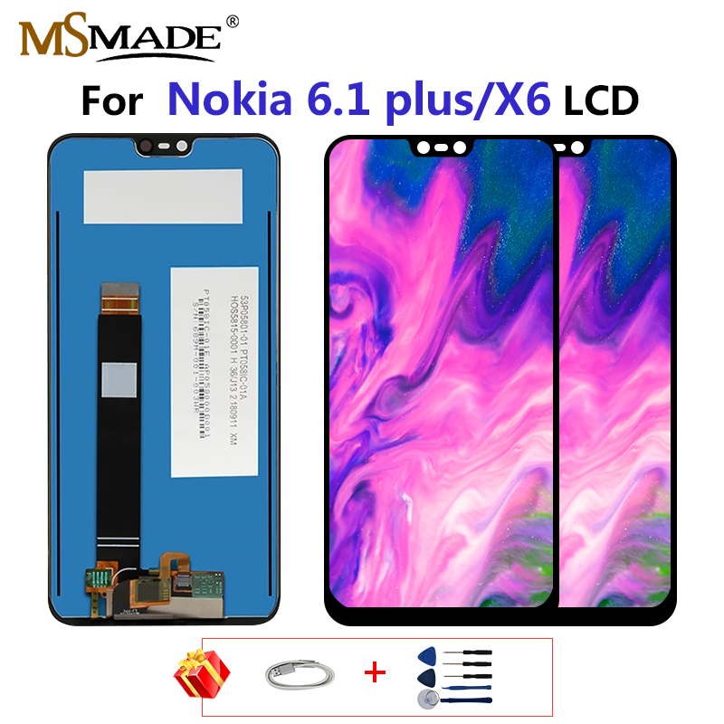 Original LCD For <font><b>Nokia</b></font> <font><b>6.1</b></font> Plus LCD Display <font><b>Touch</b></font> <font><b>Screen</b></font> Assembly Parts For <font><b>Nokia</b></font> X6 Phone With Tools Free Gift 5.8'' inch image