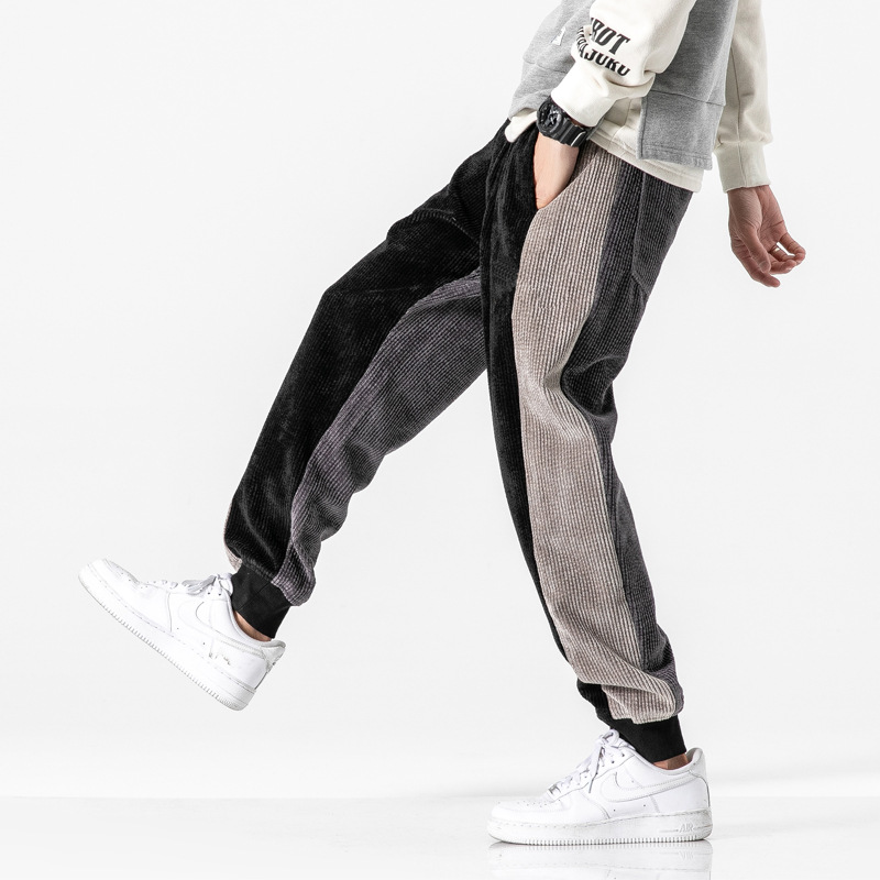 Autumn Fashion Men Jeans Loose Fit Spliced Designer Black Casual Corduroy Cargo Pants Harem Trousers Hip Hop Joggers Pants Men