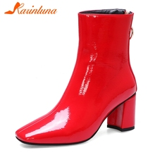 купить KARINLUNA New Fashion Big Size 34-42 Ladies Chunky Heel Ankle Boots Women Shoes Woman Zip Add Fur Winter Shoes Woman Boots дешево