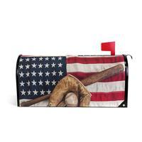 빈티지 스포츠 야구 마그네틱 사서함 커버 방수 레트로 미국 미국 국기 메일 박스 커버 표준 크기