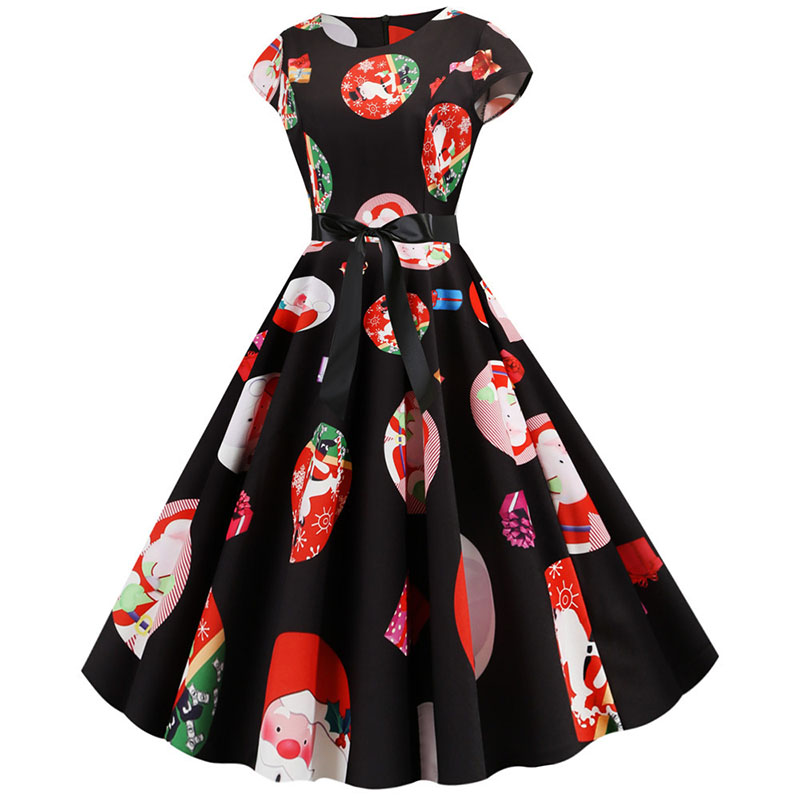 Women Christmas Party Dress robe femme Plus Size Elegant Vintage Short Sleeve Xmas Summer Dress Black Casual Midi Jurken Vestido 835
