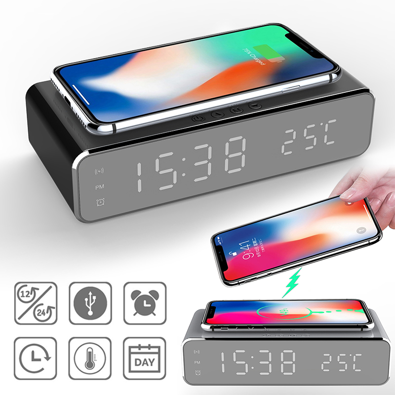 Universal Phone Wireless Charger thermometer clock HD mirror clock Digital Mirror LED Table Alarm Clock Wireless Desktop|Mobile Phone Chargers| |  - title=