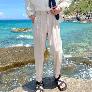 Korean Suit Pants Men Fashion Solid Color Business Casual Straight Pants Men Streetwear Wild Loose Dress Pants Mens Trousers korean style straight pants men s fashion solid color business casual dress pants men streetwear wild loose suit trousers mens