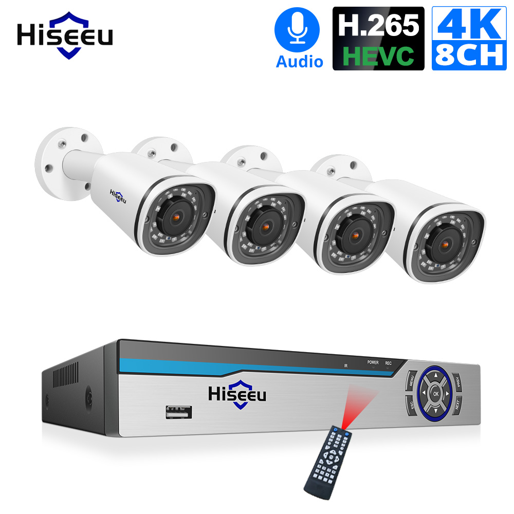 Hiseeu 8CH 4K POE NVR Kit H 265 CCTV Security System 8MP Outdoor Waterproof POE IP Camera Audio Record Video Surveillance Set