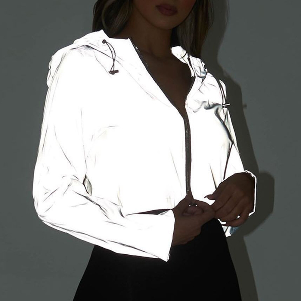 Casual Sport Hooded Short Coat Women Crop Top 2019 Autumn Reflective Female Jacket Casaco Feminino Sudadera Female Streetwears