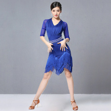 Latin Dresses Dance-Clothes Fringes Samba-Wear Salsa Women New Mesh Spandex with Peals-Belt