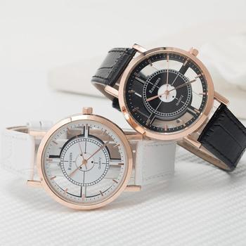 Fashion Men Women Unisex Watch Vintage Hollow Round Dial Quartz No Numbers Faux Leather Strap Couple Wrist Watch Zegarek Damski