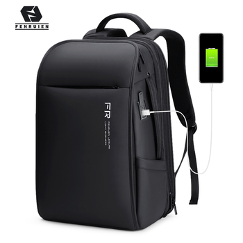Fenruien New Fashion Men Backpack Waterproof Expandable USB Charging Backpacks 17.3 Inch Laptop Bag Business Travel Bag Backpack fenruien brand 17 inch laptop backpack men usb charging travel backpacking school bag nylon waterproof anti theft backpacks
