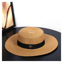Sun Hats Small Bee Straw Hat European and American Retro Gold Braided Hat Female Loose Sunscreen Sun