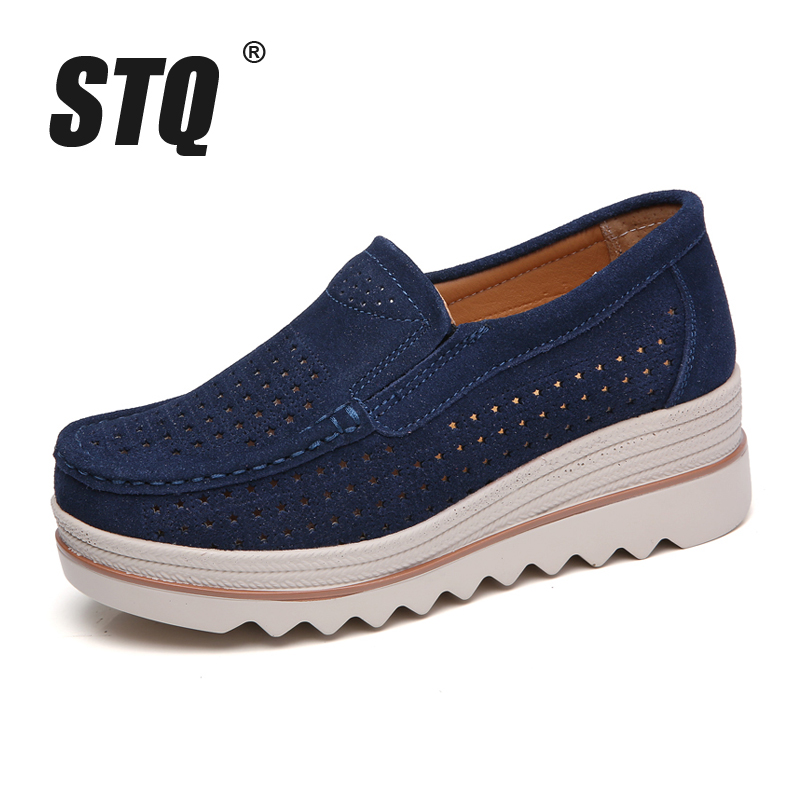 Image 2 - STQ 2020 Spring Women Flats Shoes Platform Sneakers Shoes Leather Suede Casual Shoes Slip On Flats Heels Creepers Moccasins 3088women flats shoesflats shoesslip on flats -
