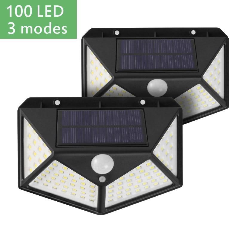 100 LED Solar Light Outdoor Solar Wall Lamp PIR Motion Sensor Light Waterproof Garden Decoration 3 Mode Solar Light