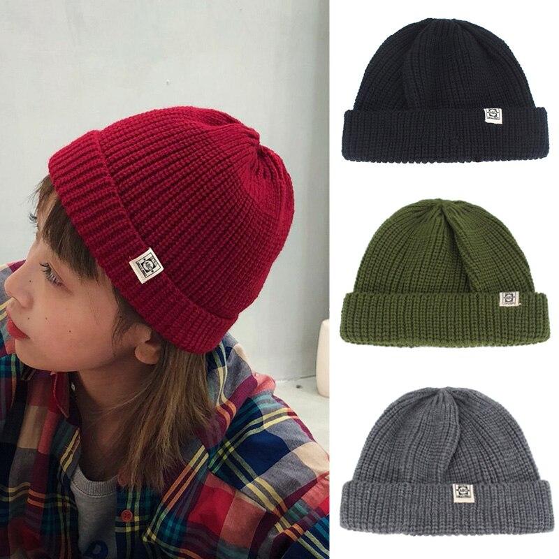 Fashion Docker Cap Beanie Winter Hat Skull Cap Street Men Brimless Knitted Hat Women Casual Hip Hop Cuffed Short Melon ABC Caps